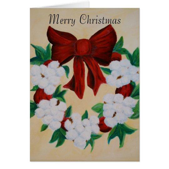 Cotton Boll Wreath Christmas Card