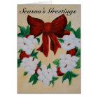 Cotton Boll Wreath Season's Greetings Card