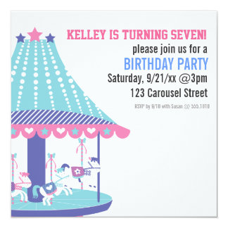 Cotton-Candy Carousel Birthday Party Invitation