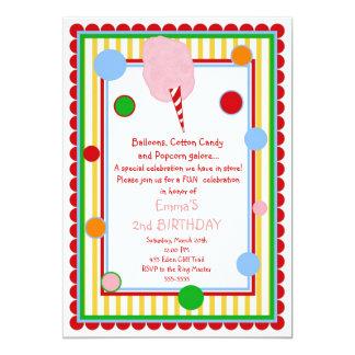 Cotton Candy Circus Carnival Birthday Invitation