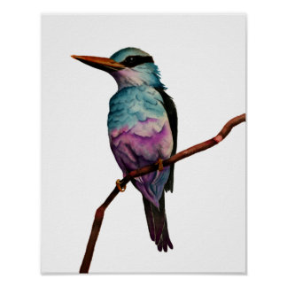 Cotton Candy Color Bird Painting Poster