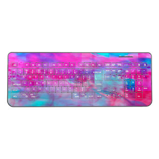 Cotton Candy Ghostly Flames Wireless Keyboard