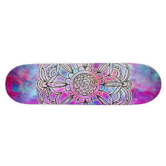 Cotton Candy Mandala Glow Skateboard #2