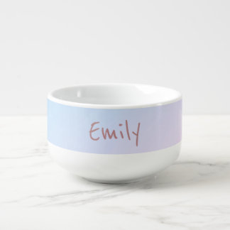Cotton Candy Pink and Blue Soup Bowl With Handle