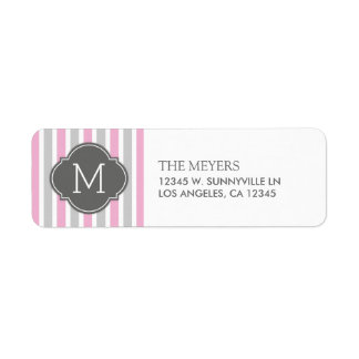 Cotton Candy Pink and Gray Stripes with Monogram Return Address Label