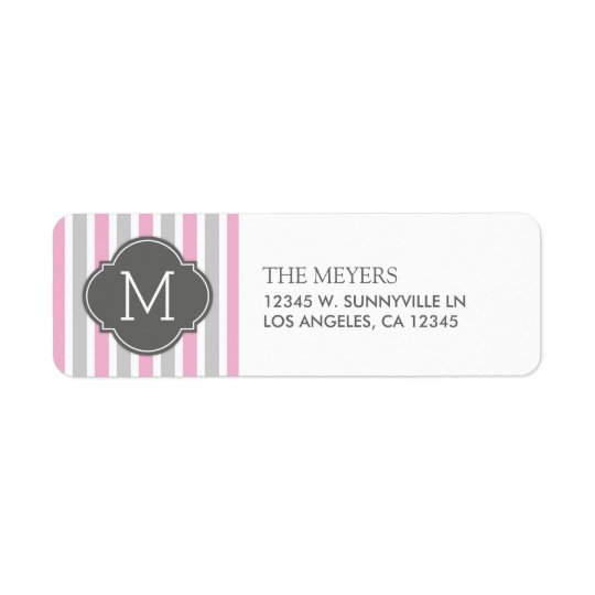 Cotton Candy Pink and Grey Stripes with Monogram