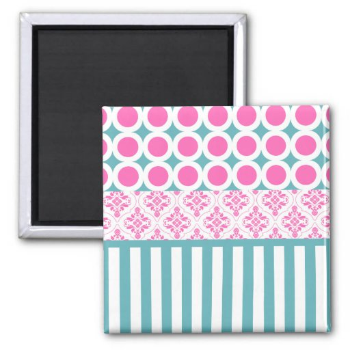 Cotton Candy Pink Blue Circles Stripes Damask Coll Refrigerator Magnet