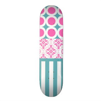 Cotton Candy Pink Blue Circles Stripes Damask Coll Skateboard