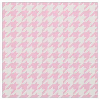 Cotton Candy Pink, White Houndstooth Pattern #2M Fabric