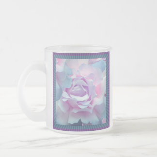 Cotton candy rose frosted glass mug