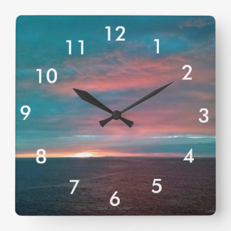 Cotton Candy Sunset Wall Clock With Numbers