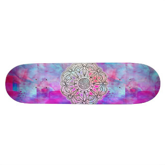 Cotton Candy & Yellow Mandala skateboard
