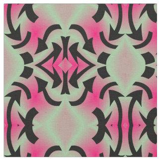 Cotton Fabric-Crafts-Home-Pink/Seafoam Green/Black Fabric