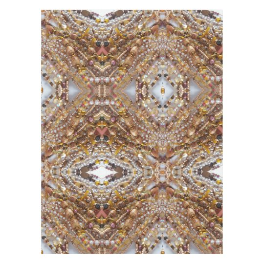 Cotton Tablecloth- Natural Earthtones Beads Print Tablecloth