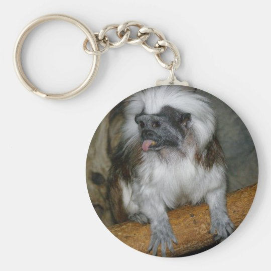 COTTON-TOP TAMARIN BASIC ROUND BUTTON KEY RING