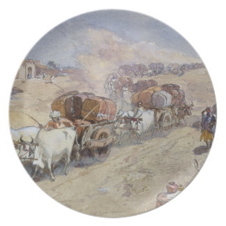 Cotton Transport, India, 1862 (w/c over pencil hei Dinner Plate