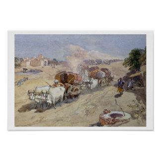 Cotton Transport, India, 1862 (w/c over pencil hei Poster
