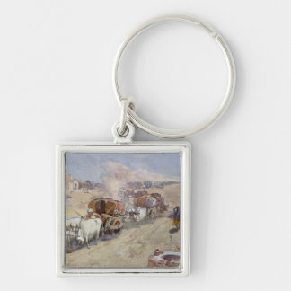 Cotton Transport, India, 1862 (w/c over pencil hei Silver-Colored Square Key Ring