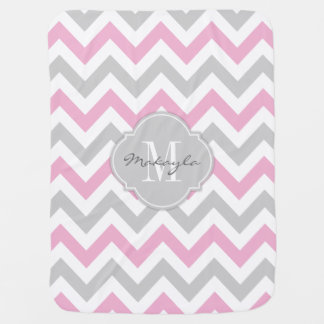 Cottoncandy Pink and Gray Chevron with Monogram Swaddle Blankets