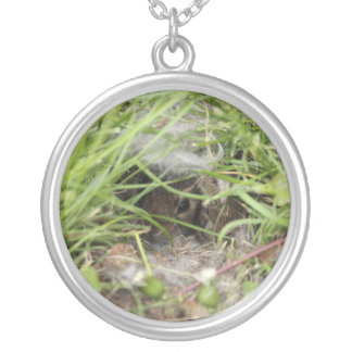 Cottontail Rabbit Babies Silver Plated Necklace
