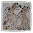 Cottontail Rabbit Oriental Style Stone Tile Trivet
