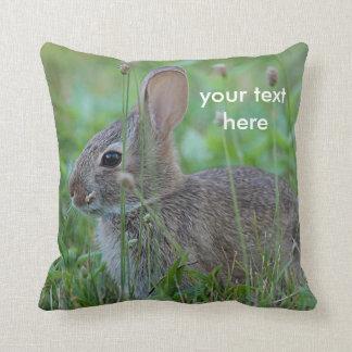 Cottontail rabbit throw pillow
