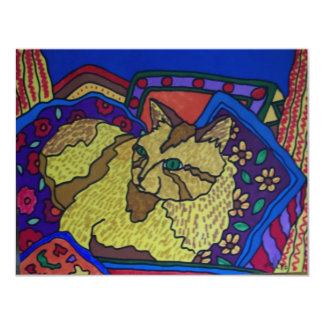 "Couch Cat 4 by Piliero 4.25"" X 5.5"" Invitation Card"