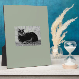 """Couch Potato"" Black Cat Plaque"