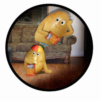 Couch Potatoes Watching the Late Show Cut Outs