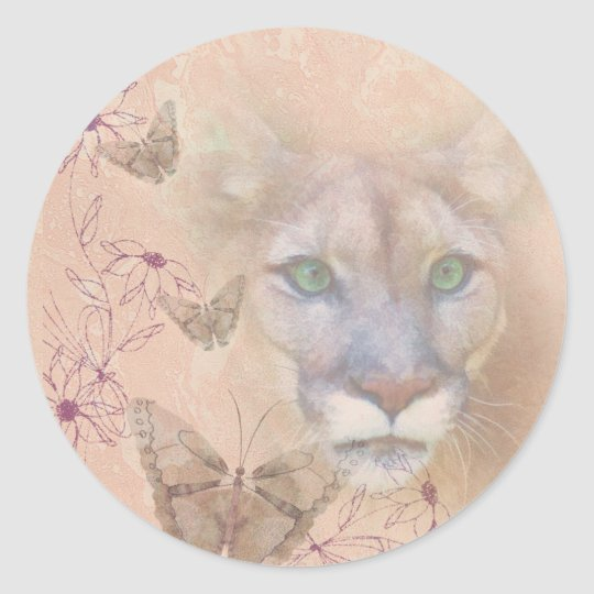 Cougar and Butterflies Classic Round Sticker