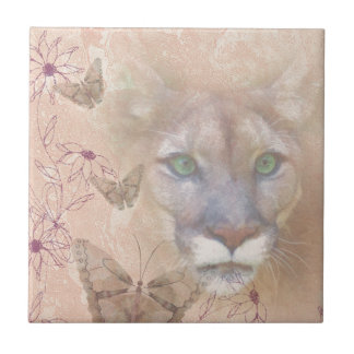 Cougar and Butterflies Small Square Tile