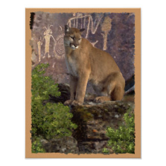 Cougar and Pictographs Poster