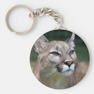 Cougar beautiful photo keychain, keyring basic round button key ring