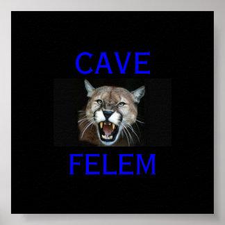 COUGAR Beware  Of The Cat - In Latin.. - Poster