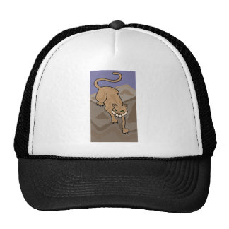 Cougar Cat in the Mountains Art Trucker Hats