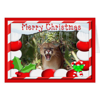 Cougar Christmas Greeting Card