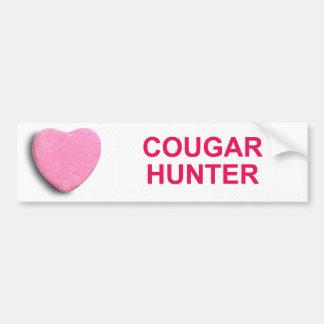 COUGAR HUNTER CANDY HEART BUMPER STICKER