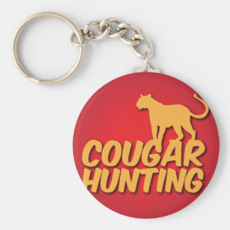 COUGAR Hunting with panther cat Basic Round Button Key Ring