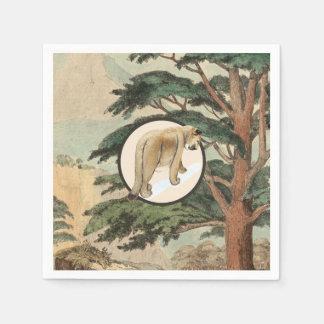 Cougar In Natural Habitat Illustration Paper Napkin
