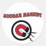 Cougar Magnet Round Stickers