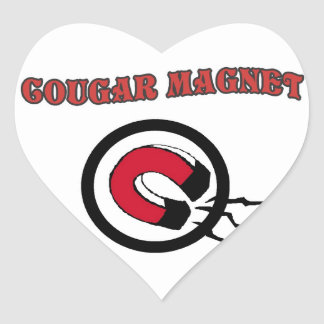 Cougar Magnet Heart Stickers