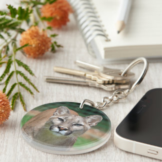 Cougar, mountain lion beautiful photo, gift key ring