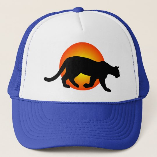 Cougar Mountain Lion Panther Silhouette Red Circle Cap