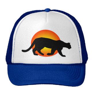 Cougar Mountain Lion Panther Silhouette Red Circle Cap
