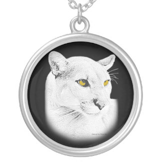 Cougar Round Pendant Necklace