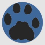 COUGAR PAW PRINT on blue Round Sticker