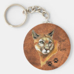 Cougar, Puma, Mountain Lion Animal Tracks Basic Round Button Key Ring