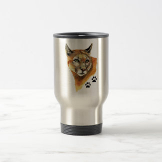 Cougar, Puma, Mountain Lion Animal Tracks Travel Mug