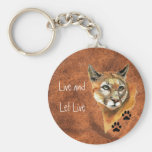 """Cougar Puma Mountain Lion """"Live and Let Live"""" Basic Round Button Key Ring"""