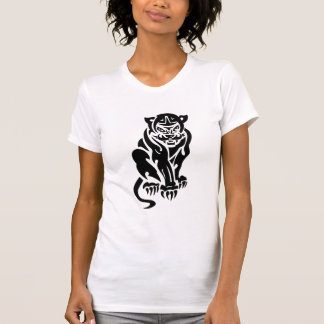 Cougar Tattoo Style Design Black White T-Shirt